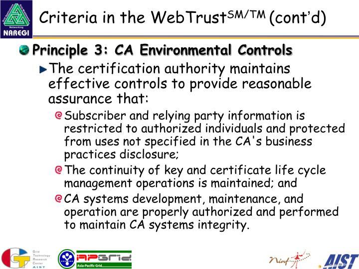 Criteria in the WebTrust