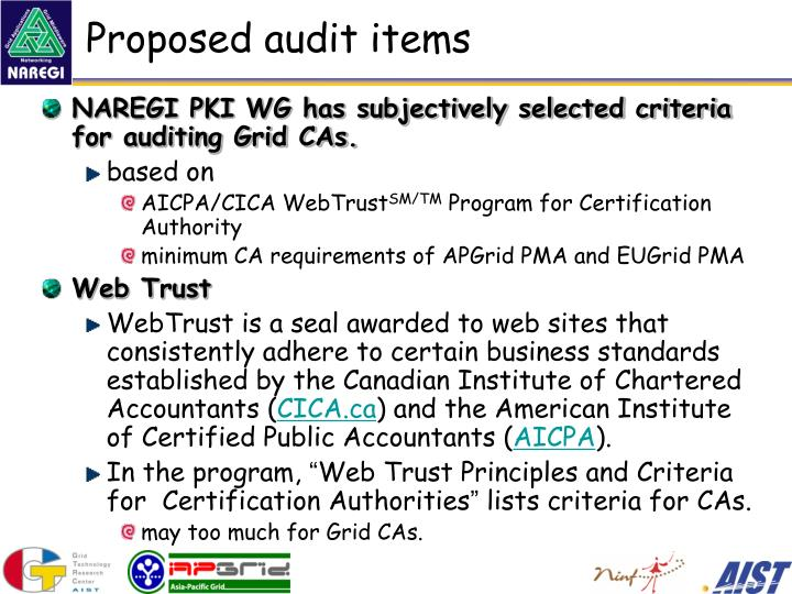 Proposed audit items
