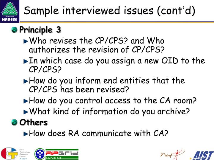 Sample interviewed issues (cont