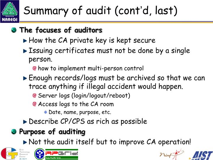 Summary of audit (cont