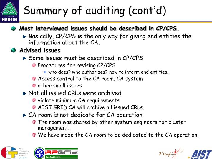 Summary of auditing (cont