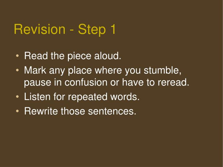 Revision - Step 1