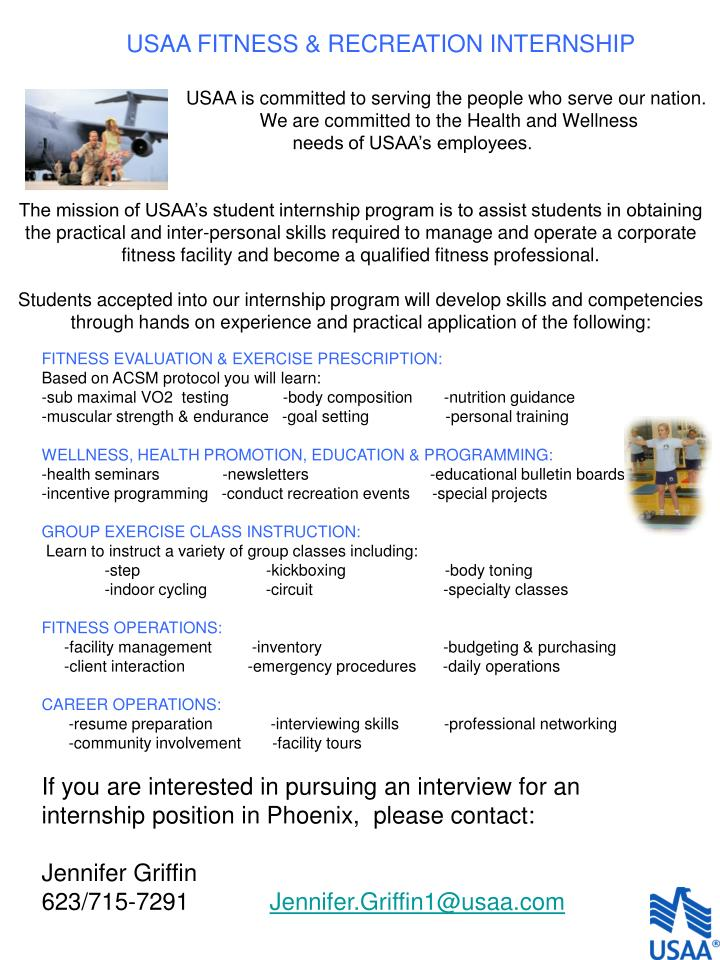 USAA FITNESS & RECREATION INTERNSHIP