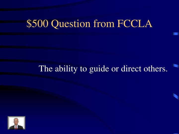 $500 Question from FCCLA
