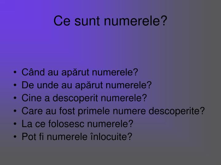 Ce sunt numerele?