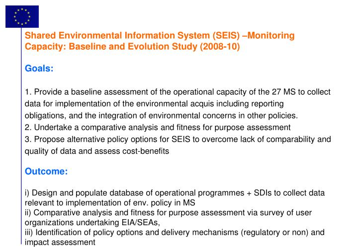 Shared Environmental Information System (SEIS) –Monitoring