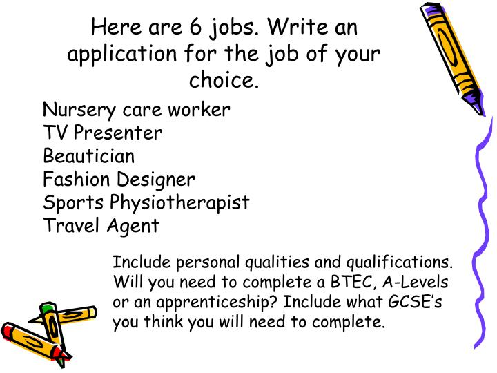 Here are 6 jobs. Write an application for the job of your choice.