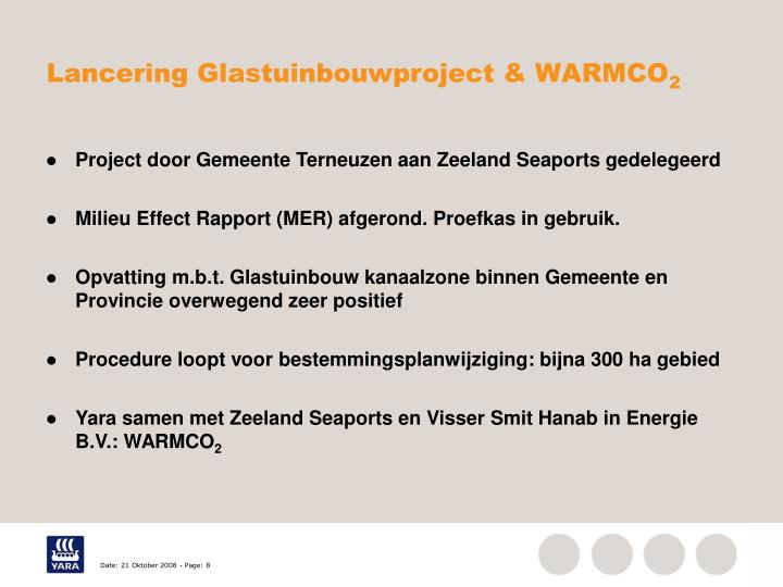 Lancering Glastuinbouwproject & WARMCO