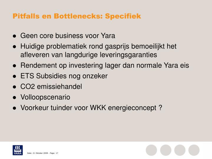 Pitfalls en Bottlenecks: Specifiek