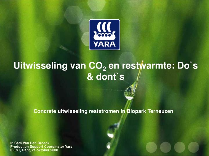 Uitwisseling van co 2 en restwarmte do s dont s