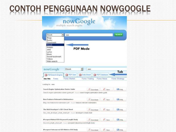 Contoh penggunaan nowGoogle
