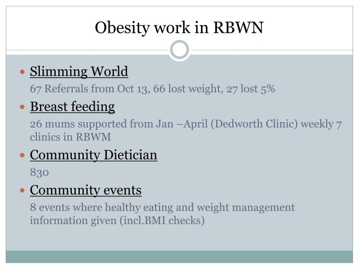 Obesity work in RBWN