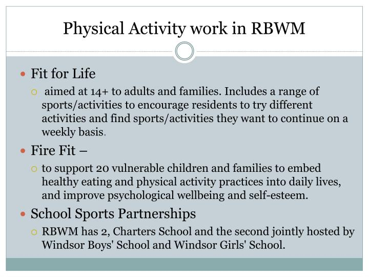 Physical Activity work in RBWM
