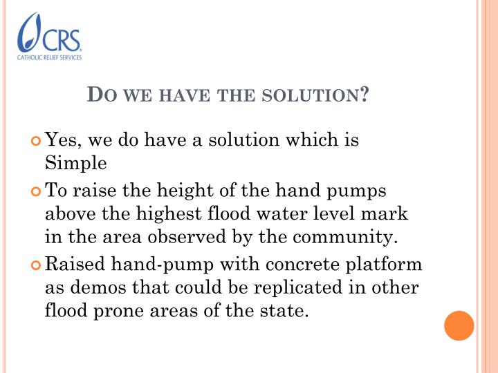 Do we have the solution?