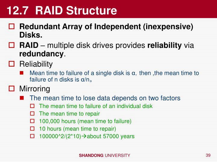 12.7  RAID Structure