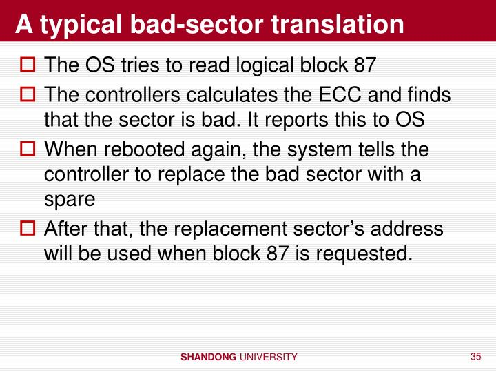 A typical bad-sector translation