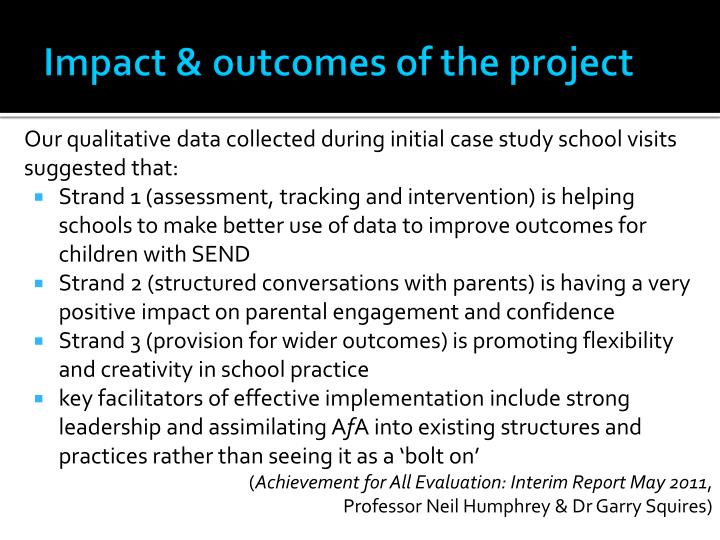 Impact & outcomes of the project