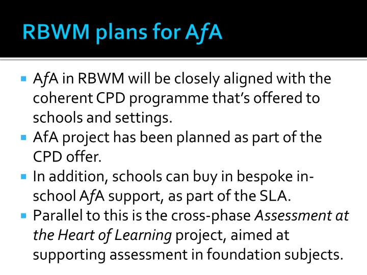 RBWM plans for A