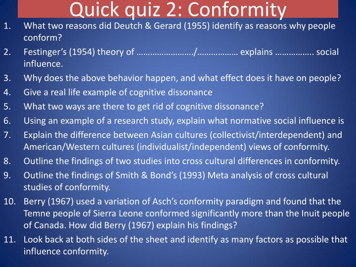 the definition of conformity and its influence Definition of conformity conformity can be defined as: a type of social influence defined as a change in belief or behaviour in response to real or imagined social.