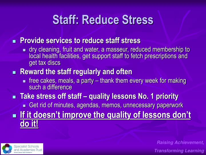 Staff: Reduce Stress