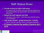 staff reduce stress