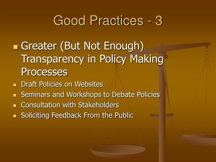 Good Practices - 3