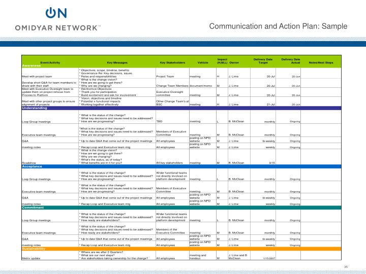 Communication and Action Plan: Sample