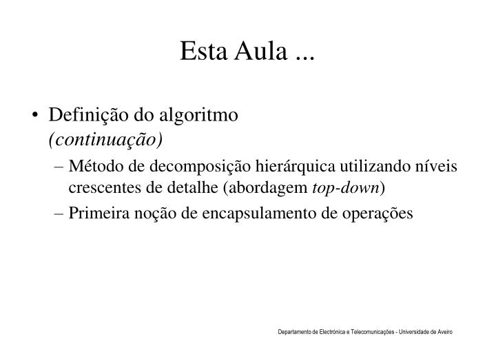 Definição do algoritmo