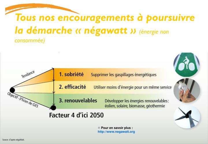 Tous nos encouragements à poursuivre la démarche «négawatt»