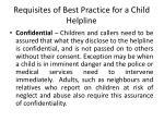requisites of best practice for a child helpline1