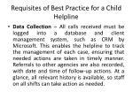 requisites of best practice for a child helpline3