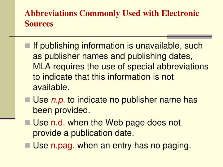 Abbreviations Commonly Used with Electronic Sources