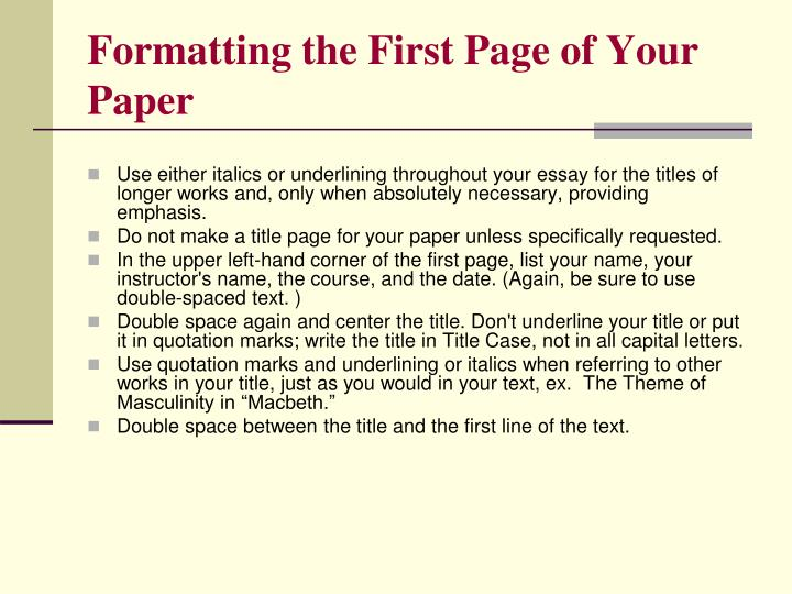 Formatting the First Page of Your Paper