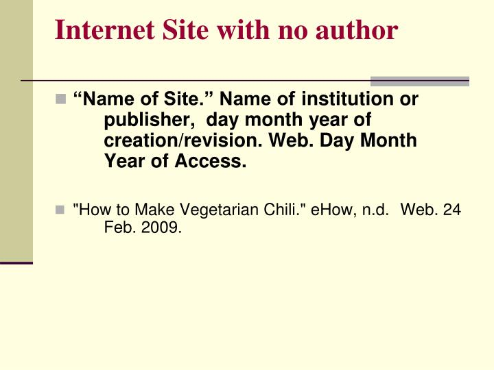 Internet Site with no author