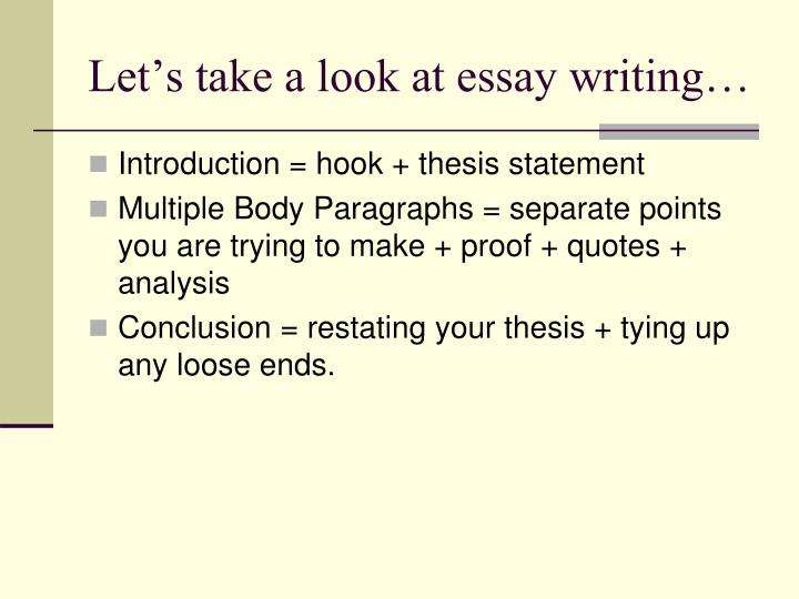 Let's take a look at essay writing…