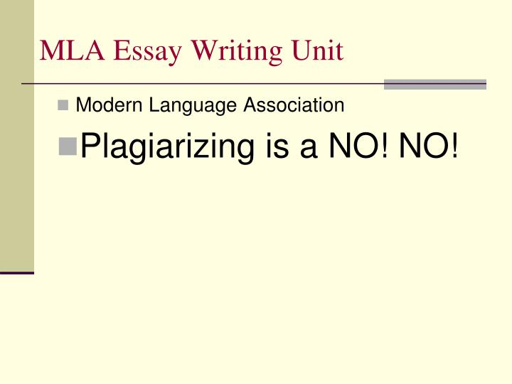 MLA Essay Writing Unit
