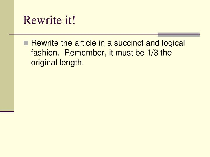 Rewrite it!