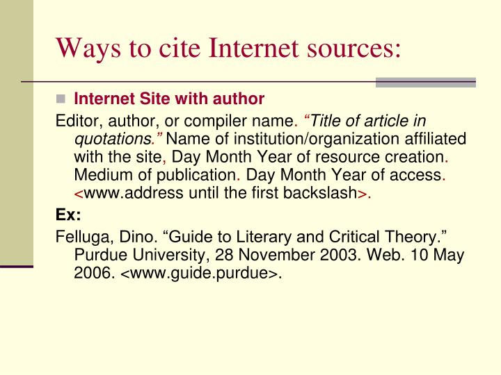 Ways to cite Internet sources: