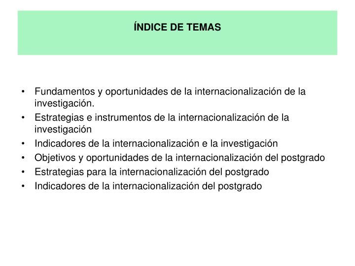 ÍNDICE DE TEMAS