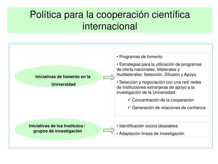 Política para la cooperación científica internacional