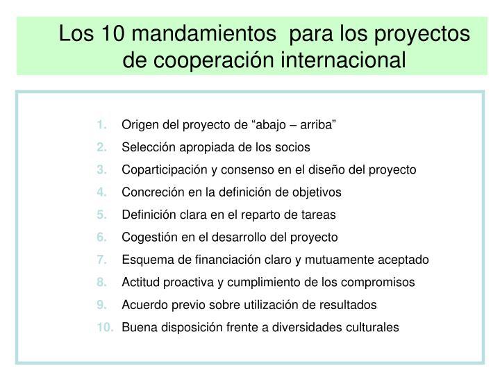 Los 10 mandamientos  para los proyectos de cooperación internacional