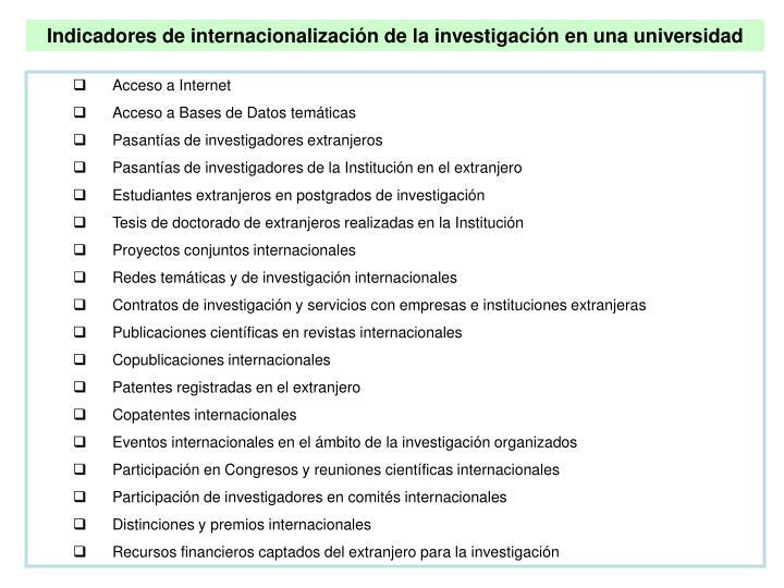 Indicadores de internacionalización de la investigación en una universidad