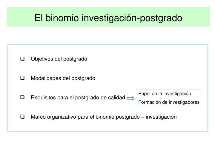 El binomio investigación-postgrado
