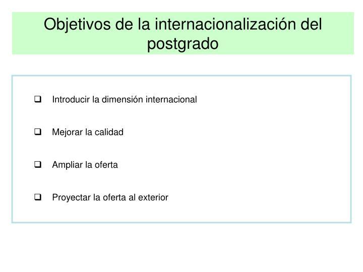 Objetivos de la internacionalización del postgrado