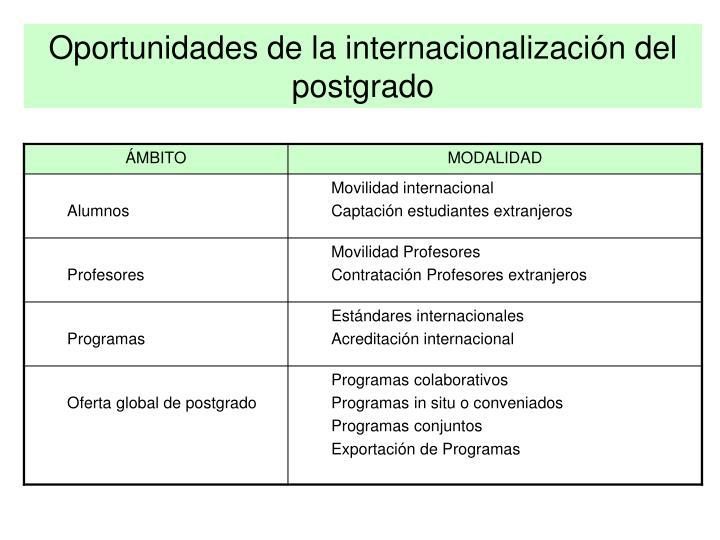 Oportunidades de la internacionalización del postgrado