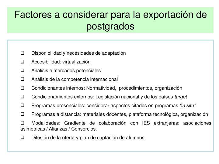 Factores a considerar para la exportación de postgrados