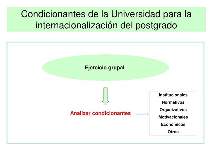 Condicionantes de la Universidad para la internacionalización del postgrado