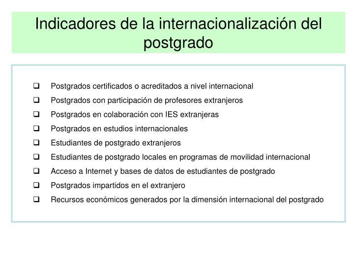 Indicadores de la internacionalización del postgrado