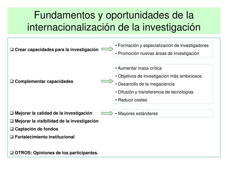 Fundamentos y oportunidades de la internacionalización de la investigación