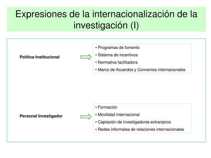 Expresiones de la internacionalización de la investigación (I)